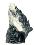 Chinese Black And White Hard Stone Carving One Of A Kind Figurine Art Sculpture