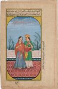 Hand Painted Indian Miniature Painting Musician Man And Women Mughal Era Finest
