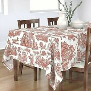 Country French Red Toile Oriental Motif Oblong 60x 102 Tablecloth, New