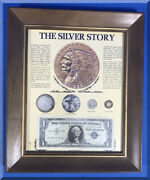 The Silver Story Collection Framed 1957 Certificate 1885 Dollar War 5andcent 1936 Dime