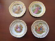 4 Vtg Limoges Scalloped Hand Painted Miniature Fragonard And Watteau Plates