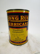 Vintage Long Run Lubricant 5 Lb Can Gas Station Sign Oil Grease Clean Bright