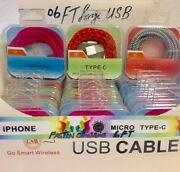 Wholesale Lot Usb 6 Ft Long Cable Phone Accessories With Crystal Box