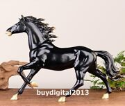 Bronze Copper Chinese Zodiac Fengshui Animal Wealth Black Horse Steed Sculpture