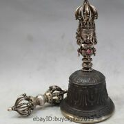 7 Old Tibet Buddhism Pure Silver Gem Cloth Bell Chung Phurpa Vajra Bell Set