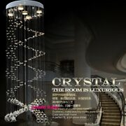 Remote Dimmable Spiral Luxury Led Crystal Pendant Lamp Villa Stair Ceiling Light