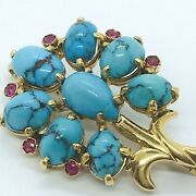 Natural Turquoise Ruby 18k Yellow Gold Pin Pendant Brooch