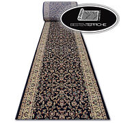 Thick Classic Runner Royal Black Flowers Width 70-150 Traditional Good Value