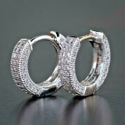 2.40ct Natural Round Diamond 14k Solid White Gold Hoops Snap Closure Earring