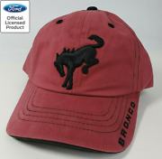 New 2021 Ford Bronco Hat / Cap - Brick Red W/ Embroidered Black Emblem And Script
