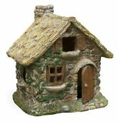 Thatched Roof House Stone Wall Fairy Garden House With Hinged Door Gift Idea
