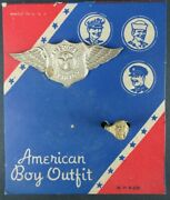 Vintage American Boy Outfit Aviator Badge And Ring On Card New Old Store Stock