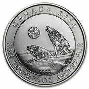 2016 Canadian Howling Wolves 3/4 Oz .9999 Silver Coin Grey Wolf Series