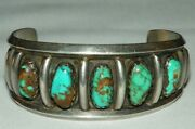Taos Pueblo Bobby Lujan Hand Constructd Exceptional Bracelet 5 Natural Turquoise