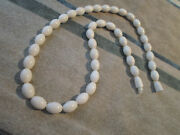 16 Vintage Smooth White African Necklace Set - Graduated Hand-made Beads