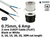6 Amp 0.75mm Flat Cable Flex 2 Core 2192y Black White Electrical Wire Light -