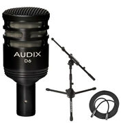 Audix D6 Dynamic Microphone Cardioid + Mic Stand W Telescoping Boom + Xlr Cable