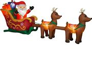 Christmas Airblown Inflatable 5 Ft. H X 13 Ft. W Santa, Reindeers And Sleigh