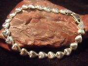 Vintage Italy Sterling 6 Mm Chain Of Hearts 7 Bracelet 6.48 Grams