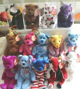 Ty Beanie Baby Lot Of 14 All Tagged No Duplicates 4 Clear Display Boxes
