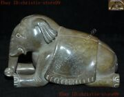 Old Chinese Feng Shui Hetian Jade Carved Animal Auspicious Lucky Elephant Statue