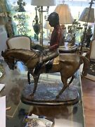 Large Bronze Jocky In The Horse Signatured By Jules Mene And A. Mercy