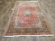 Estate Sale Handwoven100 Pure Wool And Silk Room Rug Size 4'8×7' Red
