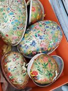 Vintage German Paper Mache Lot Of 5 Large Easter Egg Candy Containers
