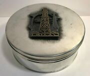 Matt Metzke Pewter Stainless Oil Well Derrick Decor Round Can Box Container