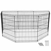 24 Dog Playpen Crate 8 Panel Fence Exercise Puppy Kennel Cage For Ducks Rabbits