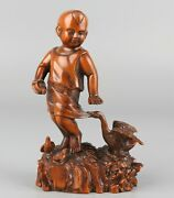Chinese Exquisite Hand-carved Child And Goose Carving Boxwood Statue