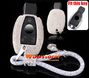 Bling Crystal Case Cover Shell For Mercedes Benz Car Remotes Key Fob Decor Chain