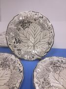 Antique Majolica Strawberry Plates Ivory With Silver Trim Set Of 4