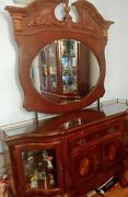 Dining Room Table 6 Chairs 2table Ext. Buffet Storage Console W Mirror Light