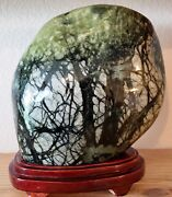 Natural Jade Stone Crystal Display W/ Stand Large Asian Green Tree Free Shipping