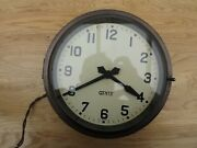 Vintage Gents Of Leicester 9 Wall Clock Brass Bulkhead 240v Not Working G