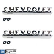 Pair Chrome Side Hood Emblems For 1947-1952 Chevy Pickup Truck
