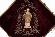 Antique French Vintage Hand Embroidered Catholic Priest Church Wall Hanging