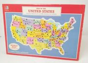 Vintage Milton Bradley Puzzle Map Of The United States World Map Reverse 1988