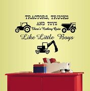 Vinyl Decal Tractors,trucks And Toys Quote Kids Boys Nursery Play Room Decor580