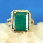 Black Friday1.84ct Natural Diamond 14k Solid Yellow Gold Emerald Cocktail Ring 7