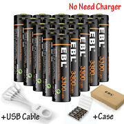 Lot Ebl 1.5v Usb Rechargeable Aa Lithium Battery 3300mwh Li-ion Batteries +cable