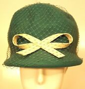 Glenover Henry Pollak, Cerulean, Wool, Cloche, Leather Bow, Hat Sz 7 1960s