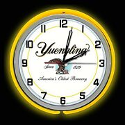 19 Yuengling Beer Sign Yellow Double Neon Clock Americas Oldest Brewery