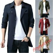 Mens Single Breasted Trench Coat Mid Long Casual Jacket Slim Fit Coat Sizem-6xl