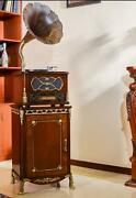 Old Classic Gramophone Wooden Sound System Decorative Fantastic Antique