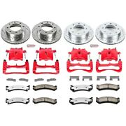Kc4423-36 Powerstop 4-wheel Set Brake Disc And Caliper Kits Front And Rear For Gmc