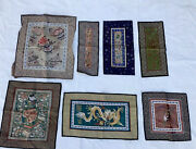 Antique Chinese Qing Dynasty Silk Textile Embroidered Panel Wall Hanging Lot 7