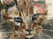 Cat Of Color Original By Jorn Fox Canvas 24x30 On Canvas. Rare..make Offer