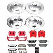 Kc2722-36 Powerstop 4-wheel Set Brake Disc And Caliper Kits Front And Rear